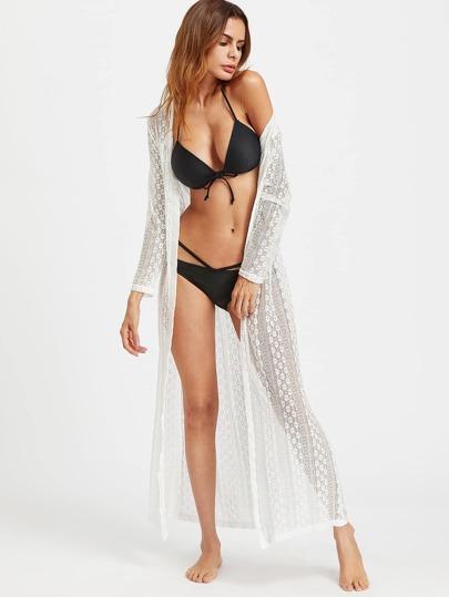 Drawstring Back Maxi Lace Crochet Beach Kimono