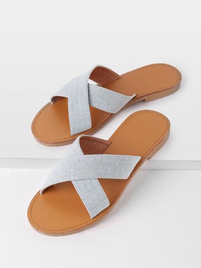Cross Strap Denim Sliders