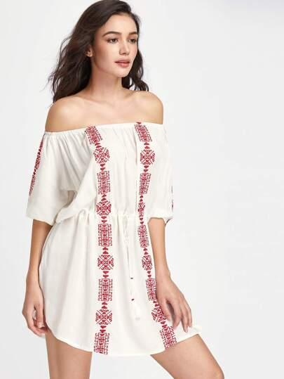 Kleid mit Graphicmuster, Schulterfrei und Gummiband Taille
