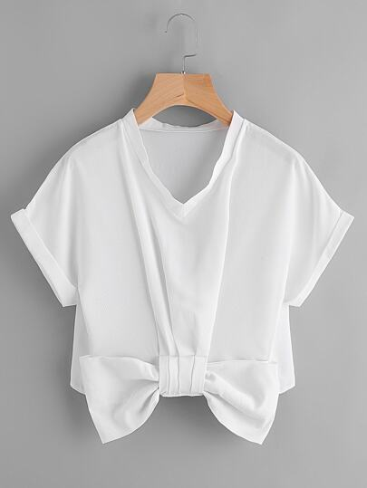 V Neckline Bow Trim Cuffed Blouse