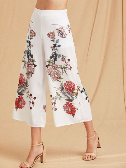 Botanical Print Zip Side Wide Leg Pants With Biker Shorts