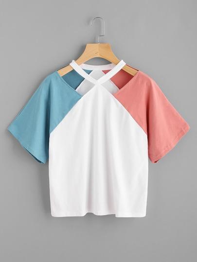 Camiseta de mangas raglán con abertura