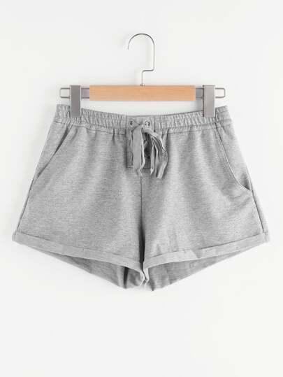 Shorts mit Band vorn und Strickern