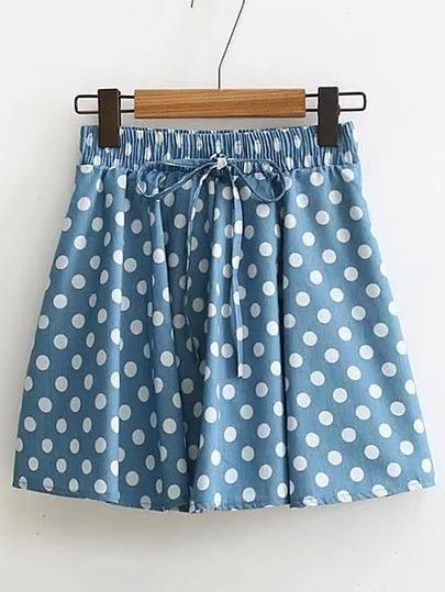Falda de lunares con detalle de cordón