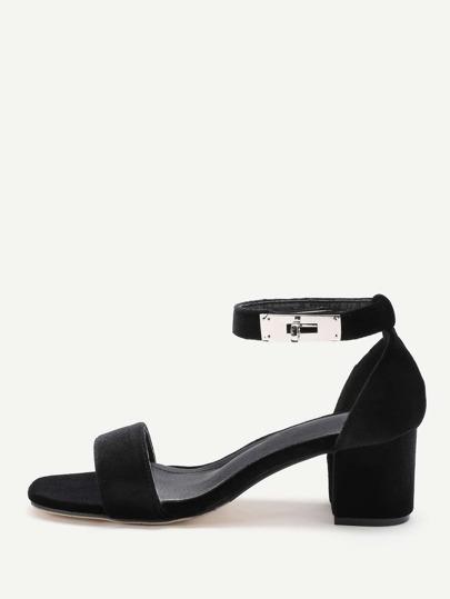 Twist Lock Decorated Two Part Block Heeled Sandals