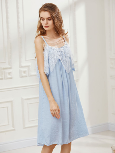 Eyelash Lace Layered Night Dress