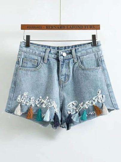 Pearls Embellished Denim Shorts With Fringe