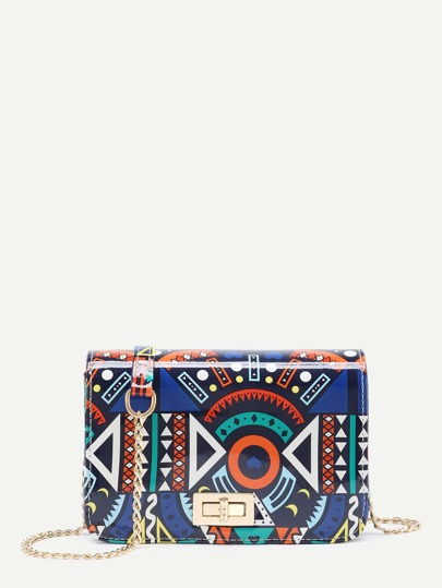Geometric Print Twist Lock Chain Shoulder Bag