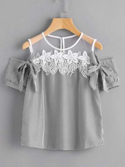 Contrast Mesh Yoke Lace Trim Bow Tie Top