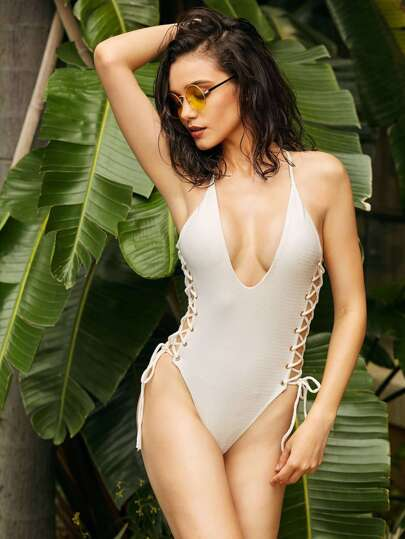 Side Lace Up Plunge Neckline Swimsuit
