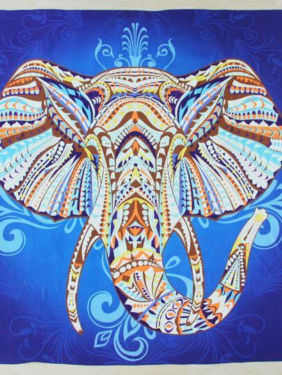 Telo da spiaggia contrasto conn stampa dell'elefante