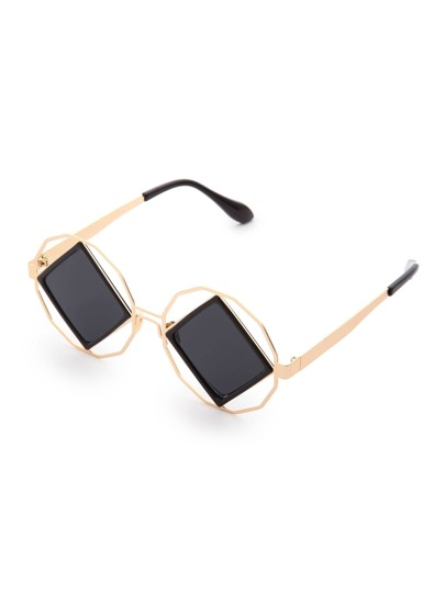 Square Lens Cutout Detail Sunglasses