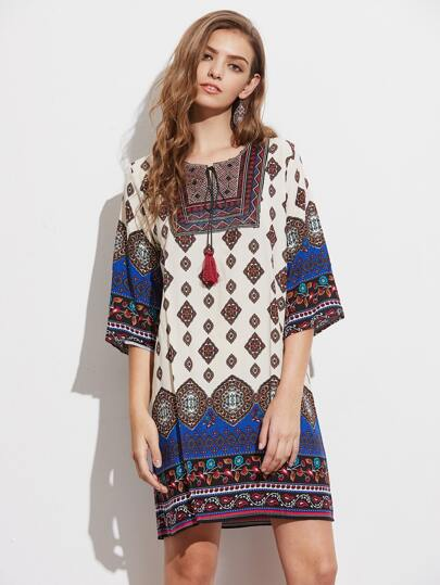 Tribal Print Tassel Tie Neck Dress