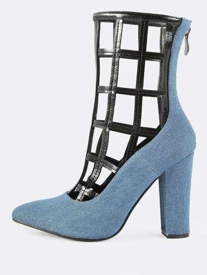 Denim Faux Leather Caged Pumps DENIM