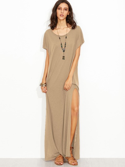 Raw Edge Side Slit Slub Tee Dress