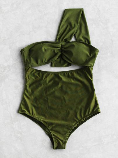 Cutout Front One Shoulder Swimsuit