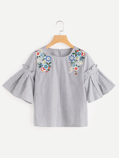 Embroidered Flower Applique Pleated Bell Sleeve Top