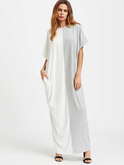 Contrast Cut And Sew Kaftan Dress