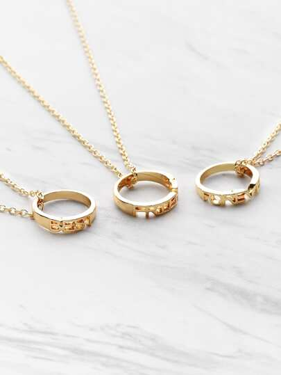 Ring Embellished Friendship Pendant Necklace 3pcs