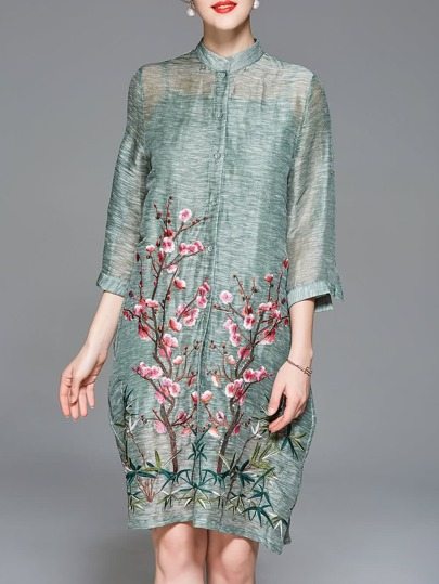 Flowers Embroidered Pockets Vintage Dress