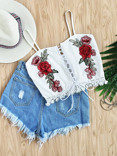Rose Embroidered Patch Lace Up Lace Hem Top