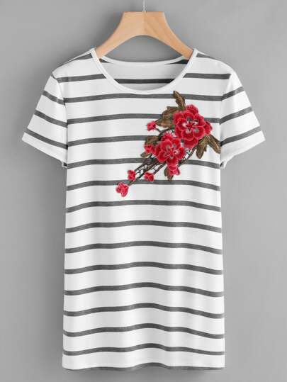 Embroidered Appliques Striped Tee