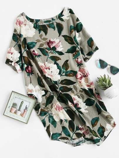 Vestido con estampado floral con bolsillos