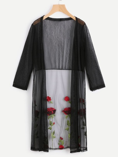 See-Through Flower Embroidered Mesh Longline Kimono