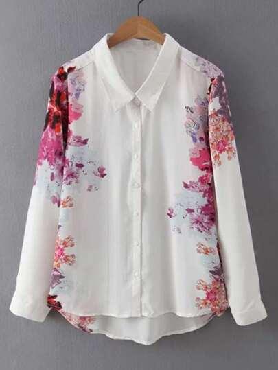 Модная асимметричная блуза с цветочным принтом