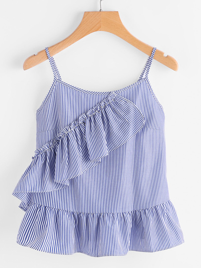 Vertical Striped Frill Trim Peplum Cami Top