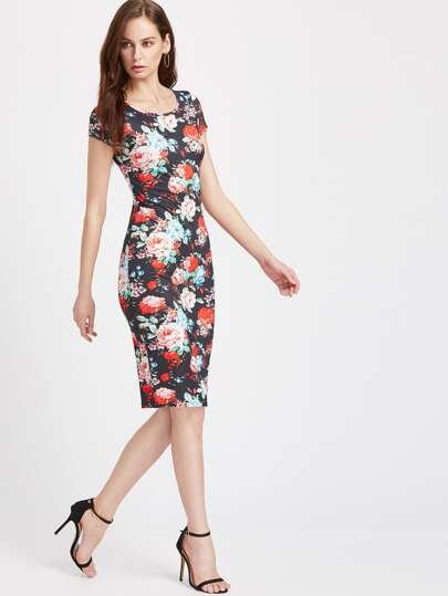 Calico Print Pencil Dress