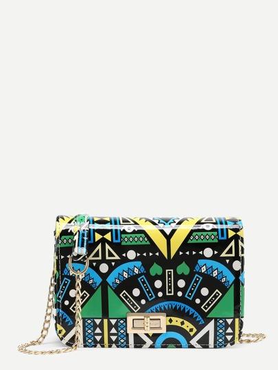 Geometric Print Twist Lock Chain Shoulder Bag