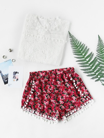 Ditsy Print Pom Pom Trim Shorts