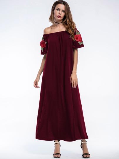 Bardot Flower Patches Sleeve Longline Dress