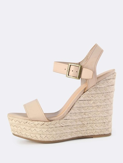 Faux Leather Wedges NUDE