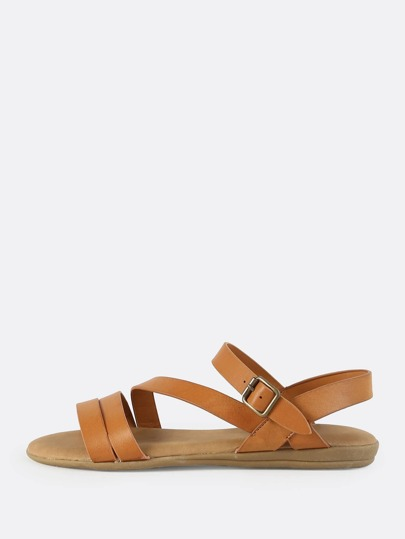 Open Toe Multi Strap Sandals TAN