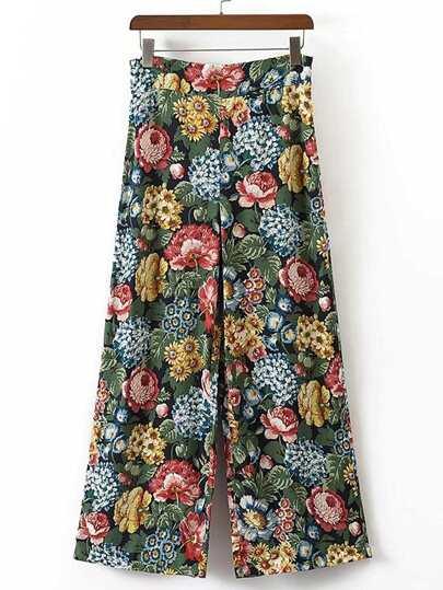 Pantalones anchos de la impresión floral