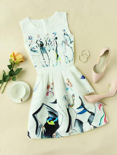 Sketch Print Embossed Fit & Flare Dress