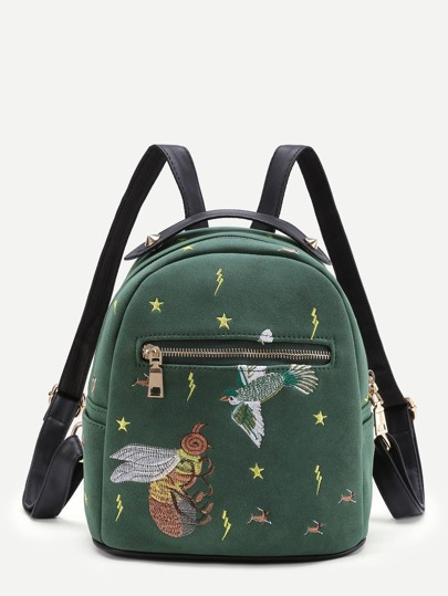 Bee Embroidery Front Zipper Backpack