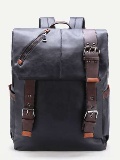 Zipper Detail PU Backpack With Buckle Front