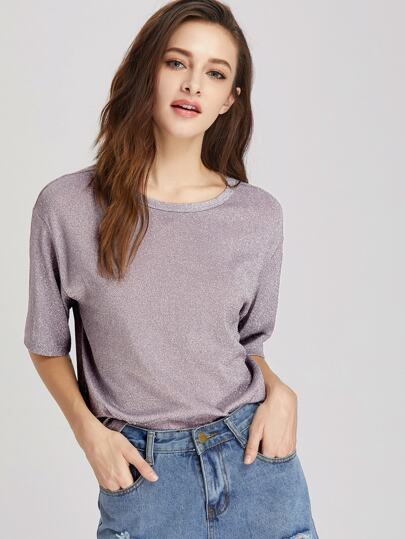 Drop Shoulder Sparkle Boxy Tee