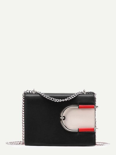 Bolso con cadena con detalle de cierre en color block