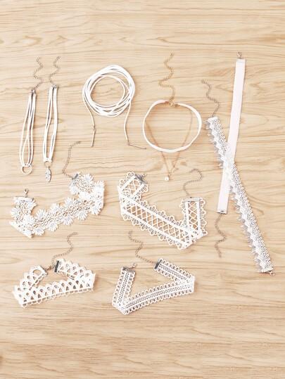 Lace Choker Necklace Set 10pcs