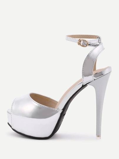 PU Ankle Strap Platform High Heels