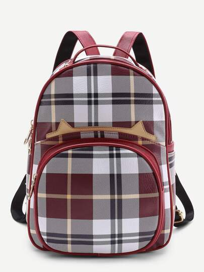 Front Pocket Casual Plaid Backpack