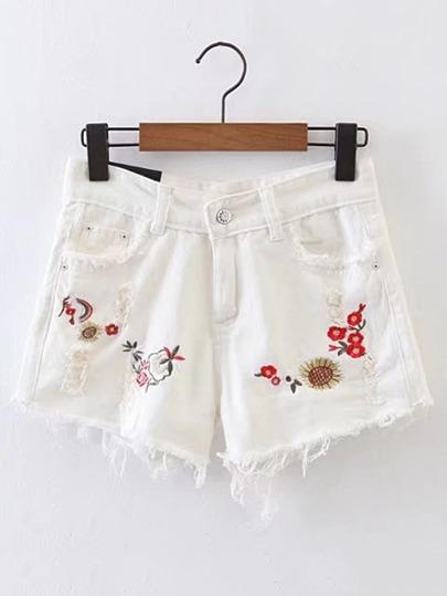Raw Hem Ripped Detail Embroidery Denim Shorts