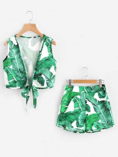 Palm Leaf Print Knotted Hem Tank Top With Shorts