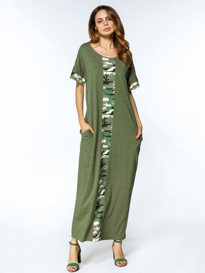 Camouflage Print Cut And Sew Full Length Dress