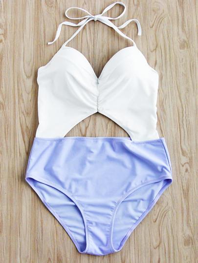 Two Tone Cutout Front Halter Bikini Set