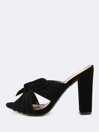 Cross Band Suede Mules BLACK